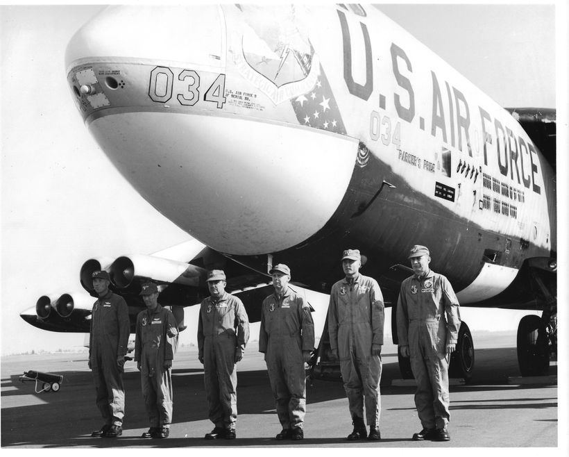 Lt. Don Harten, second from the left, stands at attention in 1966 at Mather AFB, Sacramento, in front of a B-52 dubbed Parker