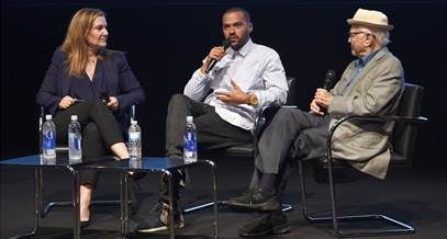 (L-R) Vanity Fair West Coast Editor Krista Smith, senior producer Jesse Williams and executive producer Norman Lear speak ons