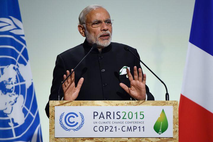 Indian Prime Minister Narendra Modi speaks at COP21on Nov.30, 2015.