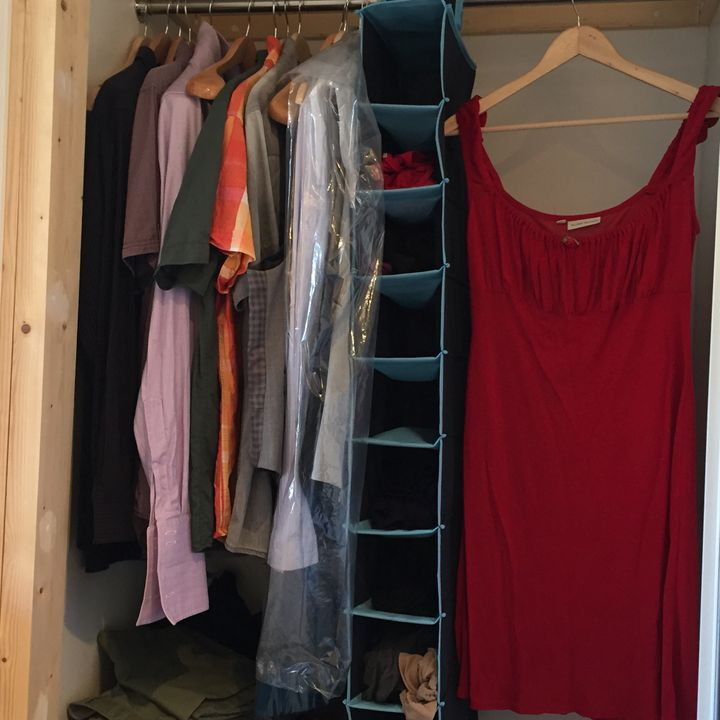 """My husband and I share a tiny closet in our&nbsp;London apartment.&nbsp;It helps us keep to a <a href=""""http://www.huffingtonp"""
