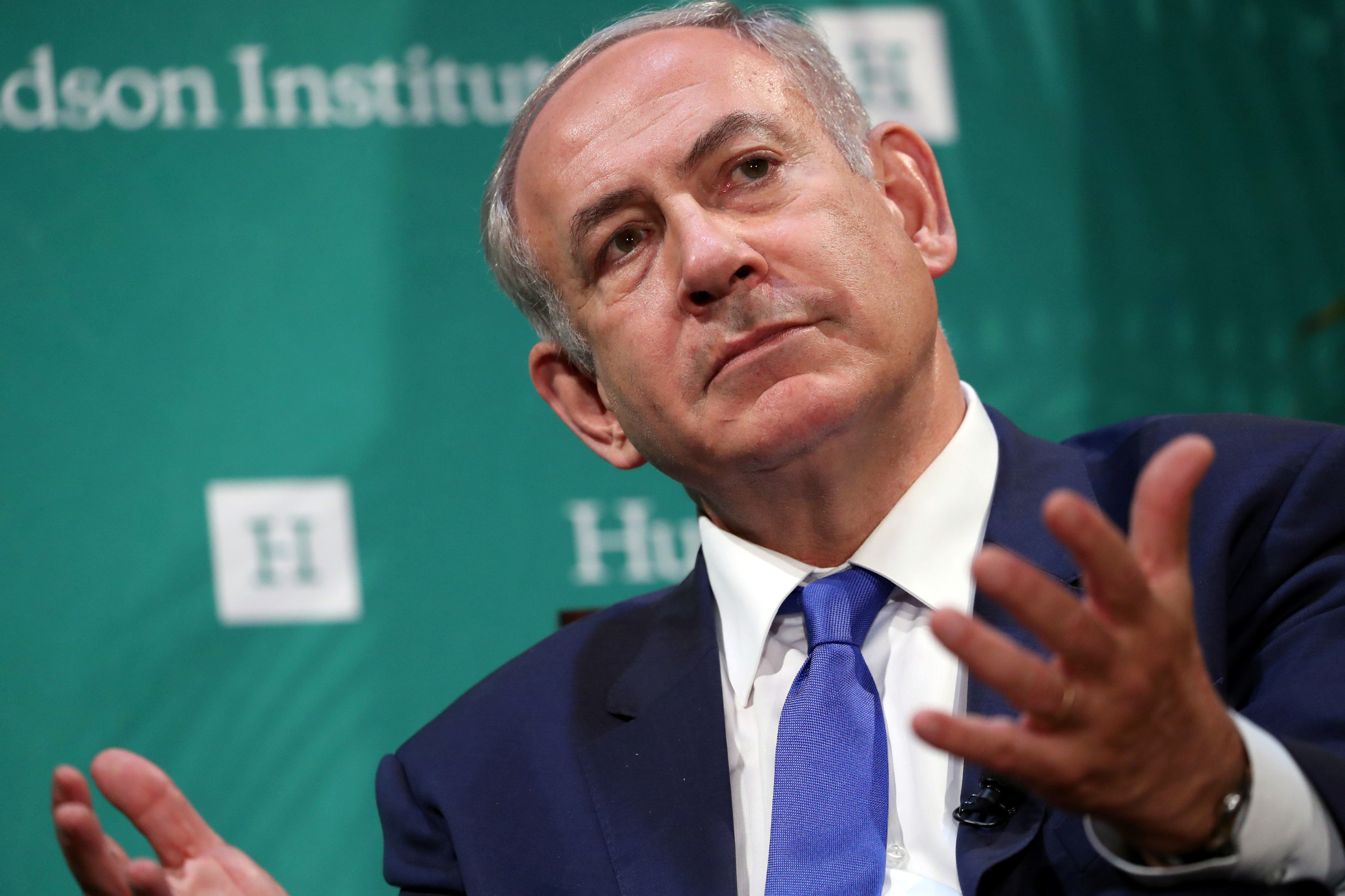 Israeli Prime Minister Benjamin Netanyahu delivers remarks at the Hudson Institute's Herman Kahn Award Ceremony at the Plaza Hotel in Manhattan, New York, U.S., September 22, 2016. REUTERS/Andrew Kelly