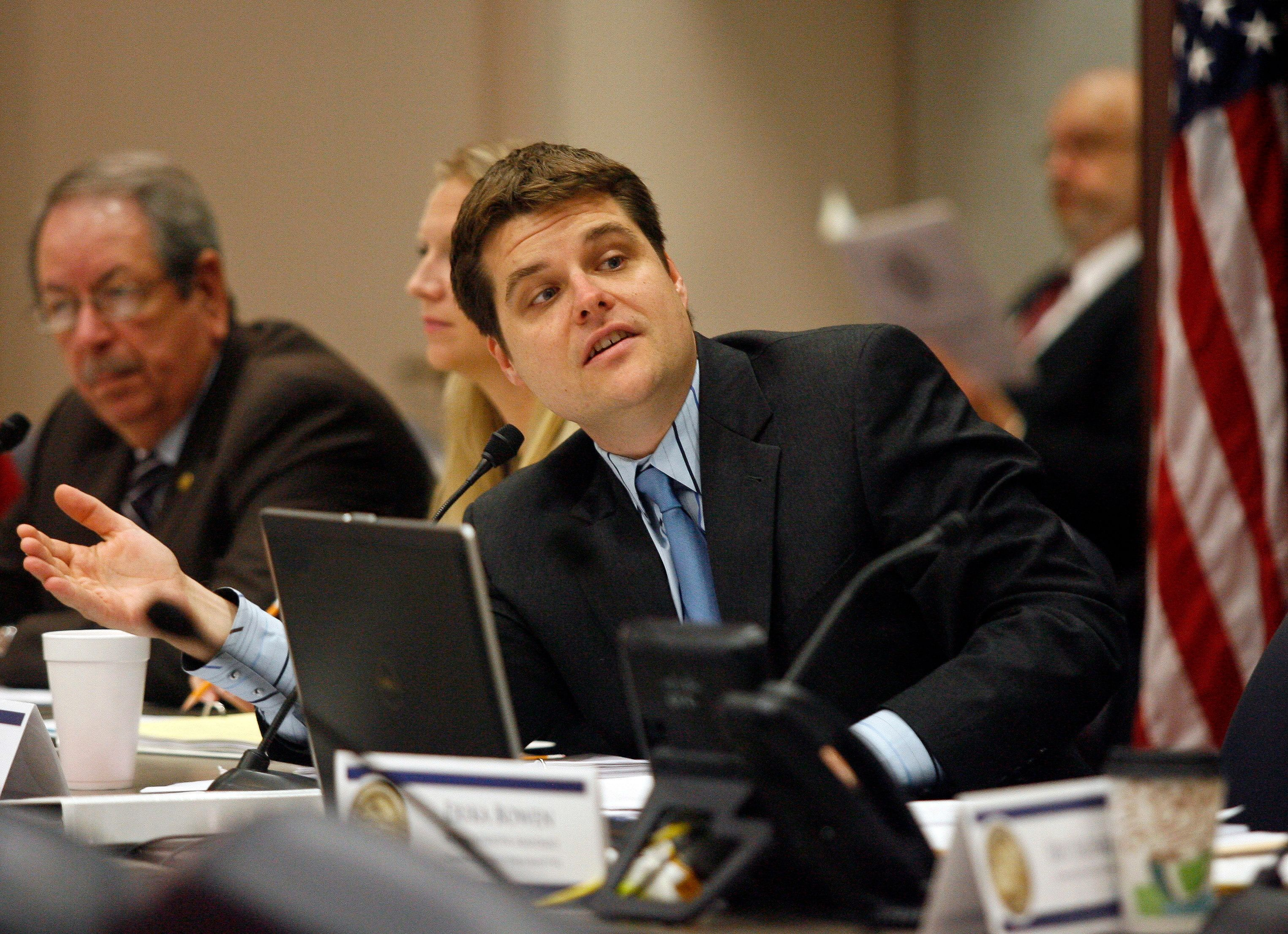 Rep. Matt Gaetz, R-Fort Walton Beach answers a question during discussion of House Bill 843 - Cannabis at a Criminal Justice Subcommittee meeting in the House Office Building Wednesday, March 5, 2014 in Tallahassee, Fla. The Senate will be taking up a related bill called SB 1030-Medical-grade Marijuana and Cannabis. (AP Photo/Phil Sears)