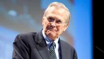 Former Secretary of Defense Donald Rumsfeld speaks during the Conservative Political Action Conference (CPAC) in Washington on February 10, 2011.      REUTERS/Joshua Roberts    (UNITED STATES - Tags: POLITICS)