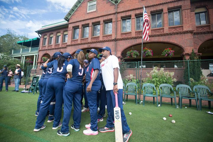 USA huddle before the second innings