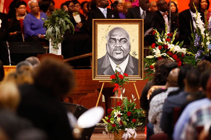 An artistic depiction of Terence Crutcher is displayed at his funeral in Tulsa, Oklahoma.