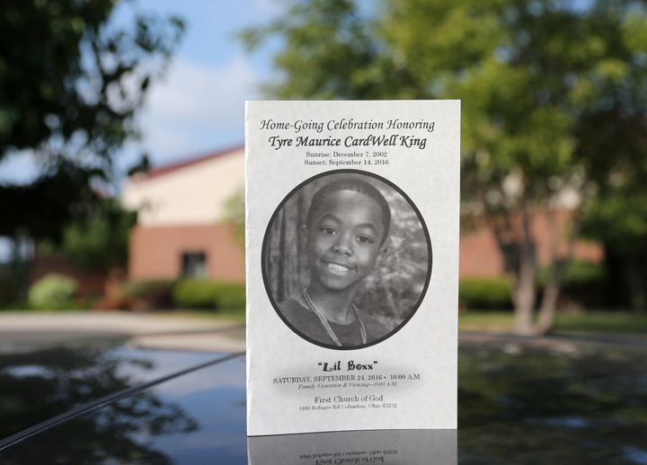 The funeral program for Tyre King, a 13-year-old African-American youth shot last week by a white police officer, is seen out