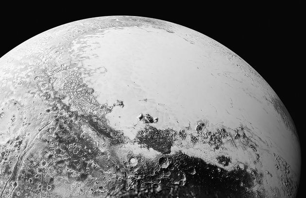 A synthetic perspective view of Pluto, based on the latest high-resolution image from New Horizons...