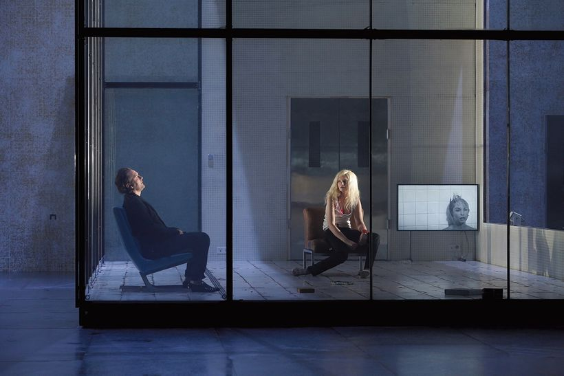 """Andrzej Chyra as Hippolytus and Isabelle Huppert as Phaedra in the Sarah Kane section of """"Phaedra(s)"""" at BAM"""