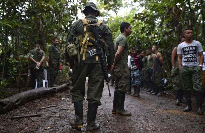 FARC guerrillas at their camp in El Diamante.