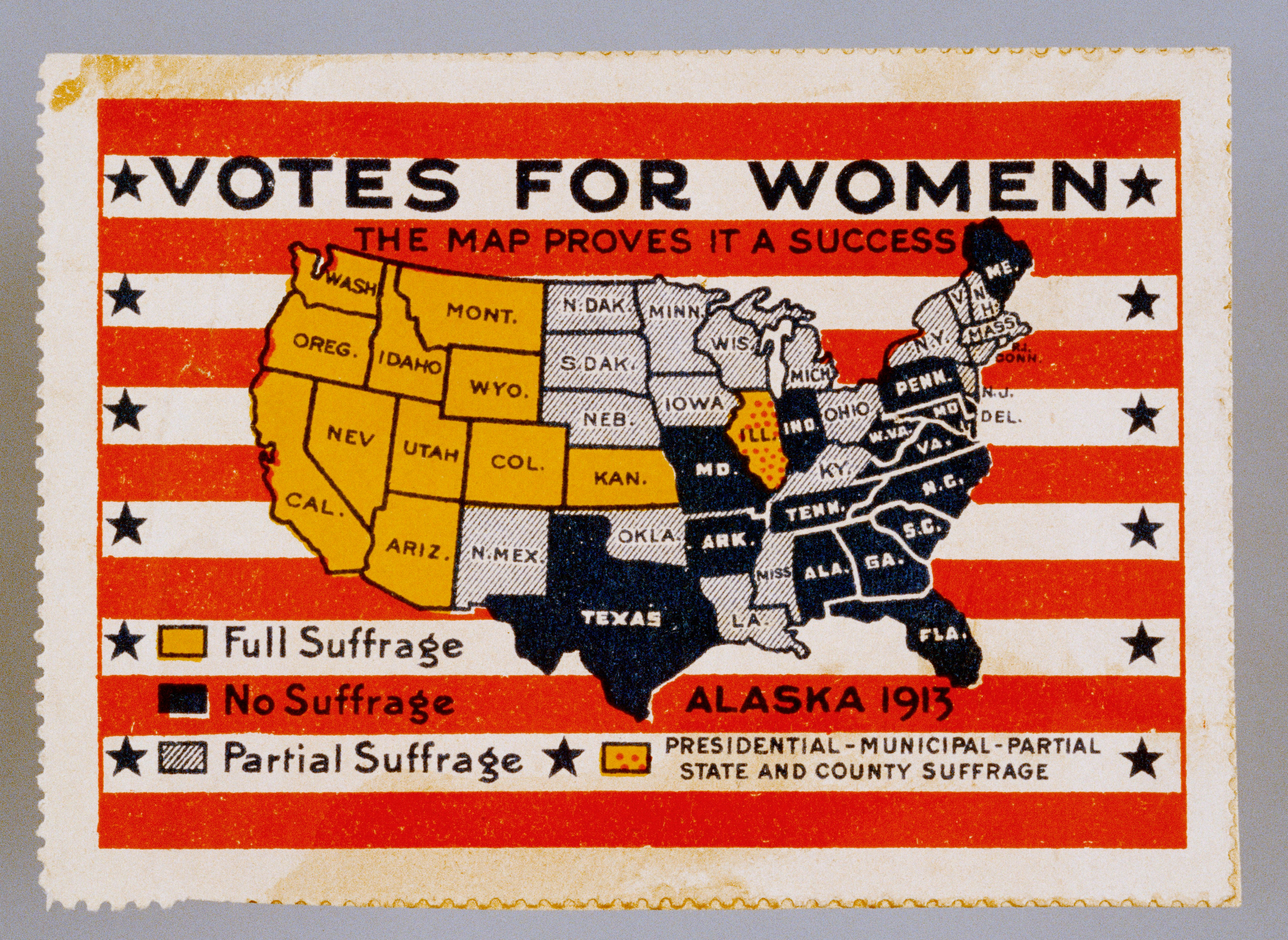 'Votes for Women' poster stamp showing a map of the US indicating each state's position on suffrage in 1913. As evidenced by this period artifact, the western states were solidly behind women's right to vote. (Photo by David J. & Janice L. Frent/Corbis via Getty Images)