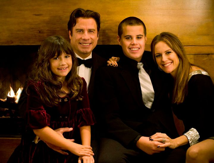 Ella, John and Jett Travolta with Kelly Preston.