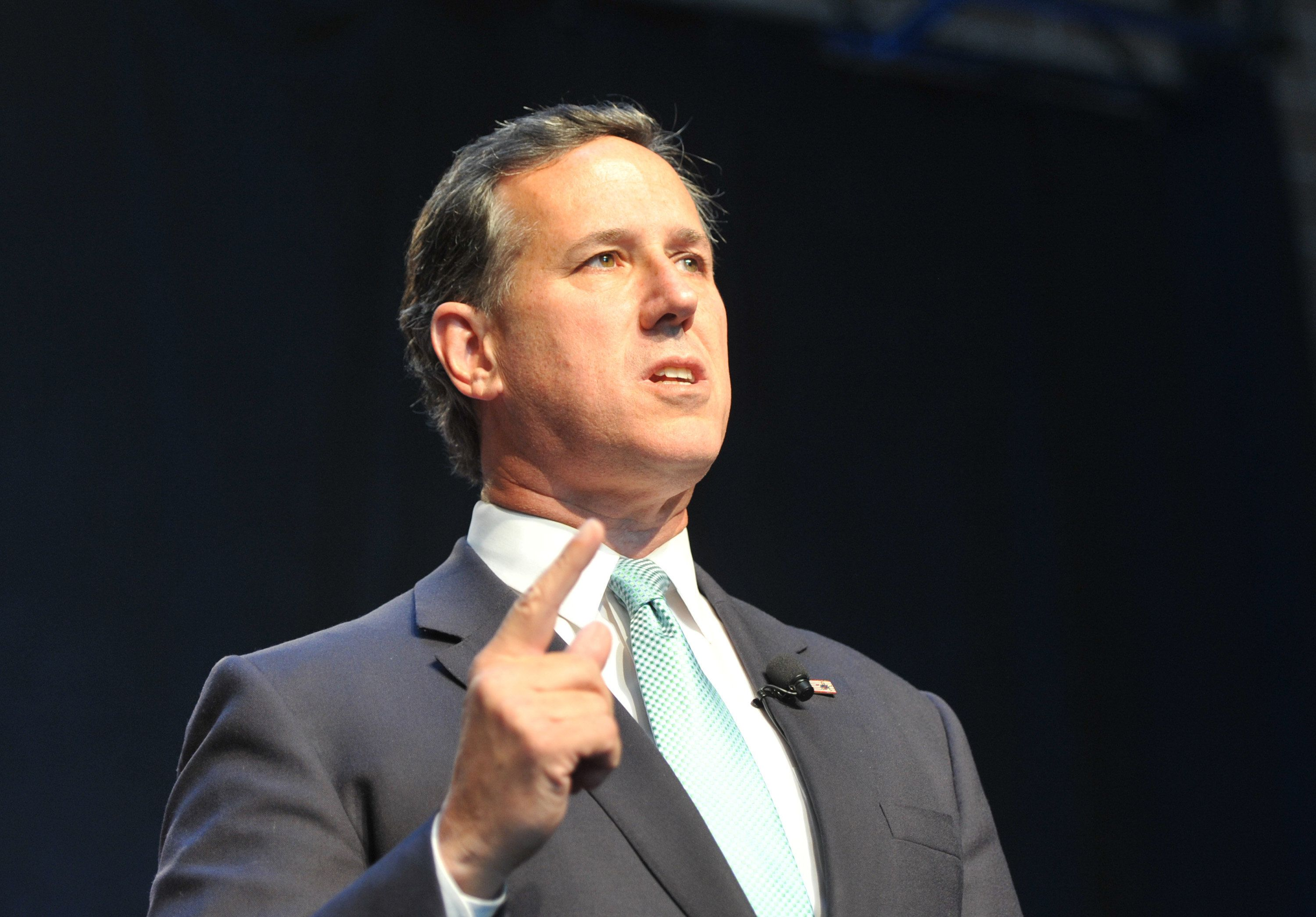 DES MOINES, IA-SEPTEMBER 19: Former Sen. Rick Santorum speaks at the Iowa Faith & Freedom Coalition 15th Annual Family Banquet and Presidential Forum held at the Iowa State fairgrounds on September 19, 2015 in Des Moines, Iowa.  Eight of the Republican candidates including Santorum and Donald Trump are expected to attend the event. (Photo by Steve Pope/Getty Images)