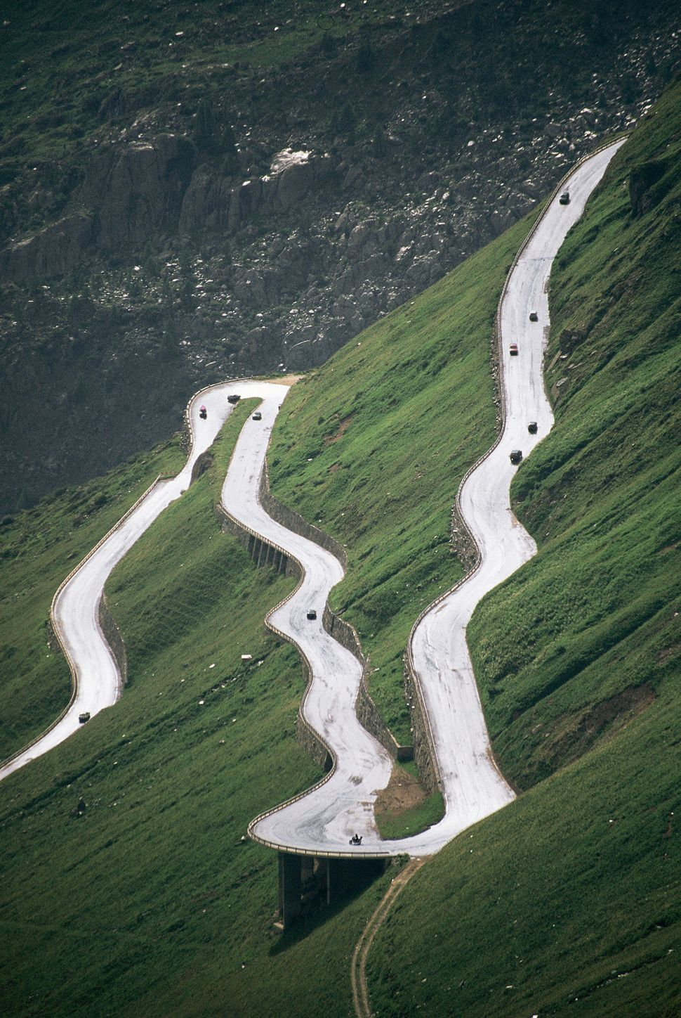 "Furka Pass is a high mountain road in the Swiss Alps whose sharp hairpin bends lead to <a href=""http://www.myswitze"