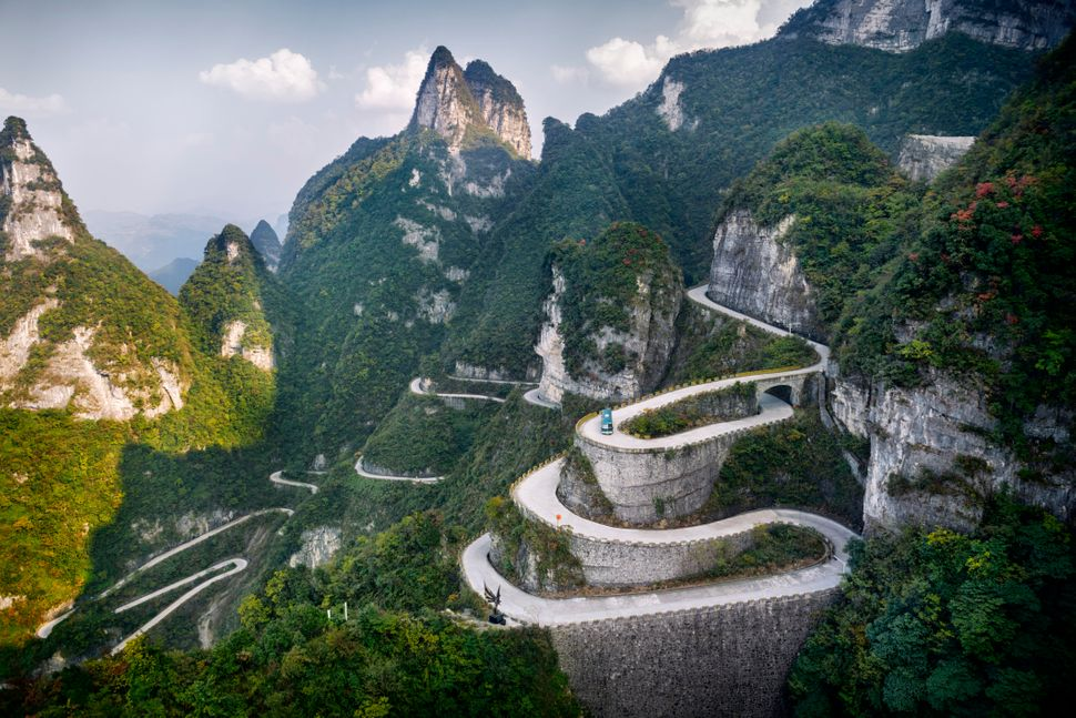 "A serpentine road makes its way through Tianmen Mountain National Park, where <a href=""http://www.huffingtonpost.com/ent"