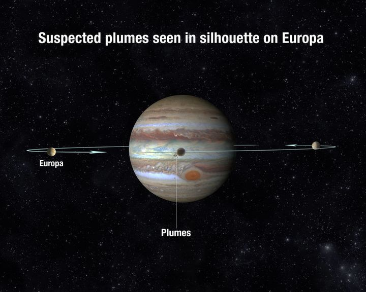 Europa orbits Jupiter every 3 and a half days. When it passes in front of Jupiter, it is more likely to see the plu