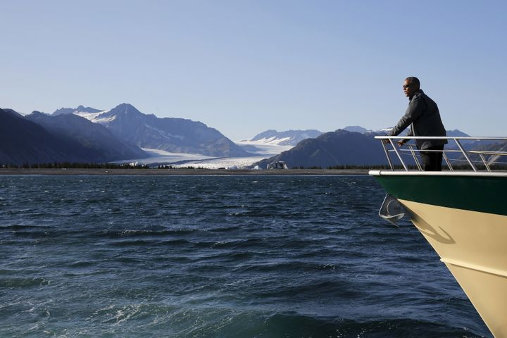 U.S. President Barack Obama views Bear Glacier on a boat tour of Kenai Fjords National Park in Seward, Alaska September 1, 20