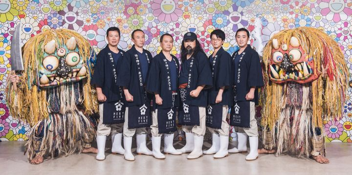 Murakami poses with the Next 5 sake brewers collective at the launch of their collaborative brew in Japan.
