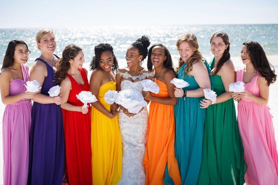 ca57ec3f 19 Bridal Parties Who Perfected The Mismatched Dress Trend ...