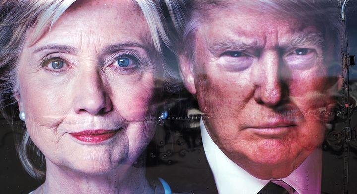 A backdrop of U.S. Democratic presidential nominee Hillary Clinton and her Republican counterpart Donald Trump at the Hofstra