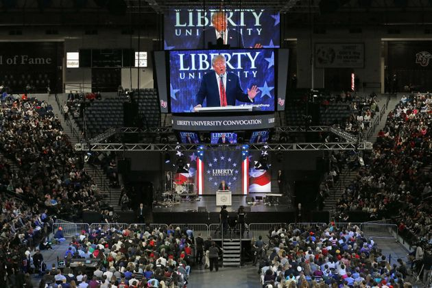 Republican presidential candidate Donald Trump speakson the campus of Liberty University on January...