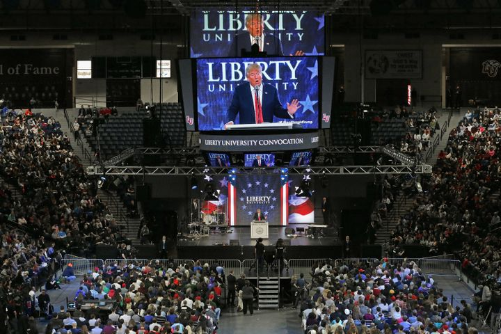 Republican presidential candidate Donald Trump speaks on the campus of Liberty University on January 18, 2016. Liberty i