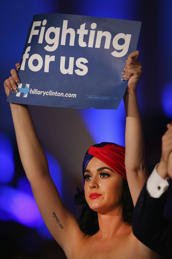 Katy Perry attends the Jefferson-Jackson Dinner as a guest of Democratic presidential candidate Hillary Clinton on Oct. 24, 2