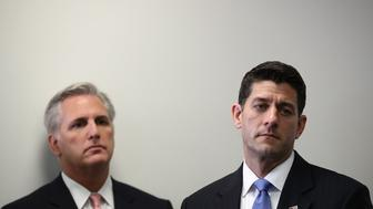 WASHINGTON, DC - SEPTEMBER 21:  Speaker of the House Paul Ryan (R) (R-WI) and House Majority Leader Kevin McCarthy (R-CA) (L) listen to questions at a press conference at the U.S. Capitol on September 21, 2016 in Washington, DC. Ryan and McCarthy met with members of the House Republican conference during their weekly meeting earlier in the morning.  (Photo by Win McNamee/Getty Images)
