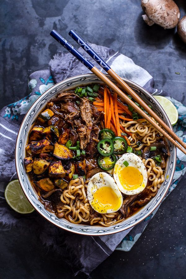 "<strong>Get the <a href=""http://www.halfbakedharvest.com/crockpot-crispy-caramelized-pork-ramen-noodle-soup-wcurry-roasted-ac"