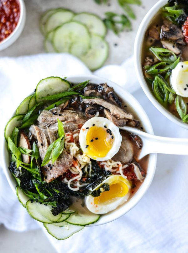 "<strong>Get the <a href=""http://www.howsweeteats.com/2015/11/spicy-homemade-pulled-pork-ramen/"" target=""_blank"">Spicy Homemad"