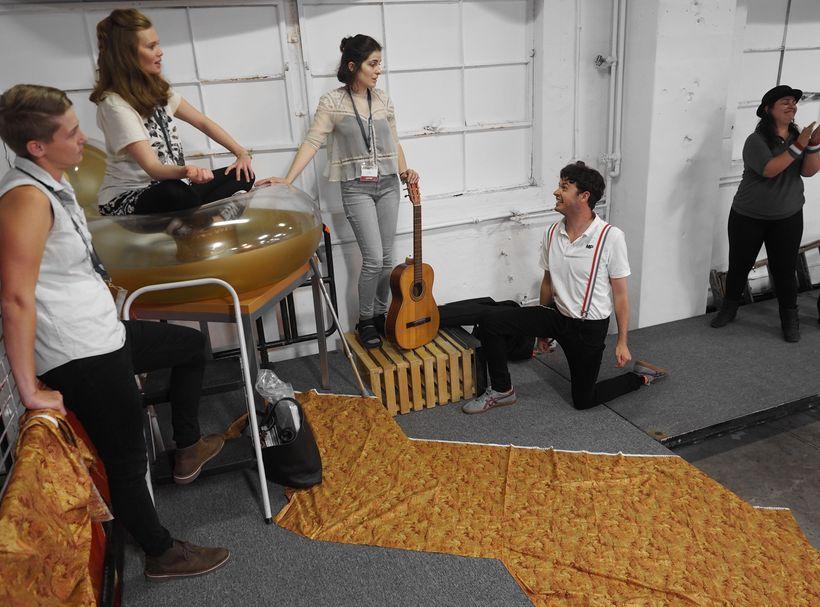 Emily Holladay Anderson, Catherine Frels, Katy Pinke, Michael Jennings Mahoney, and Leila Kaji in Marco Millions.