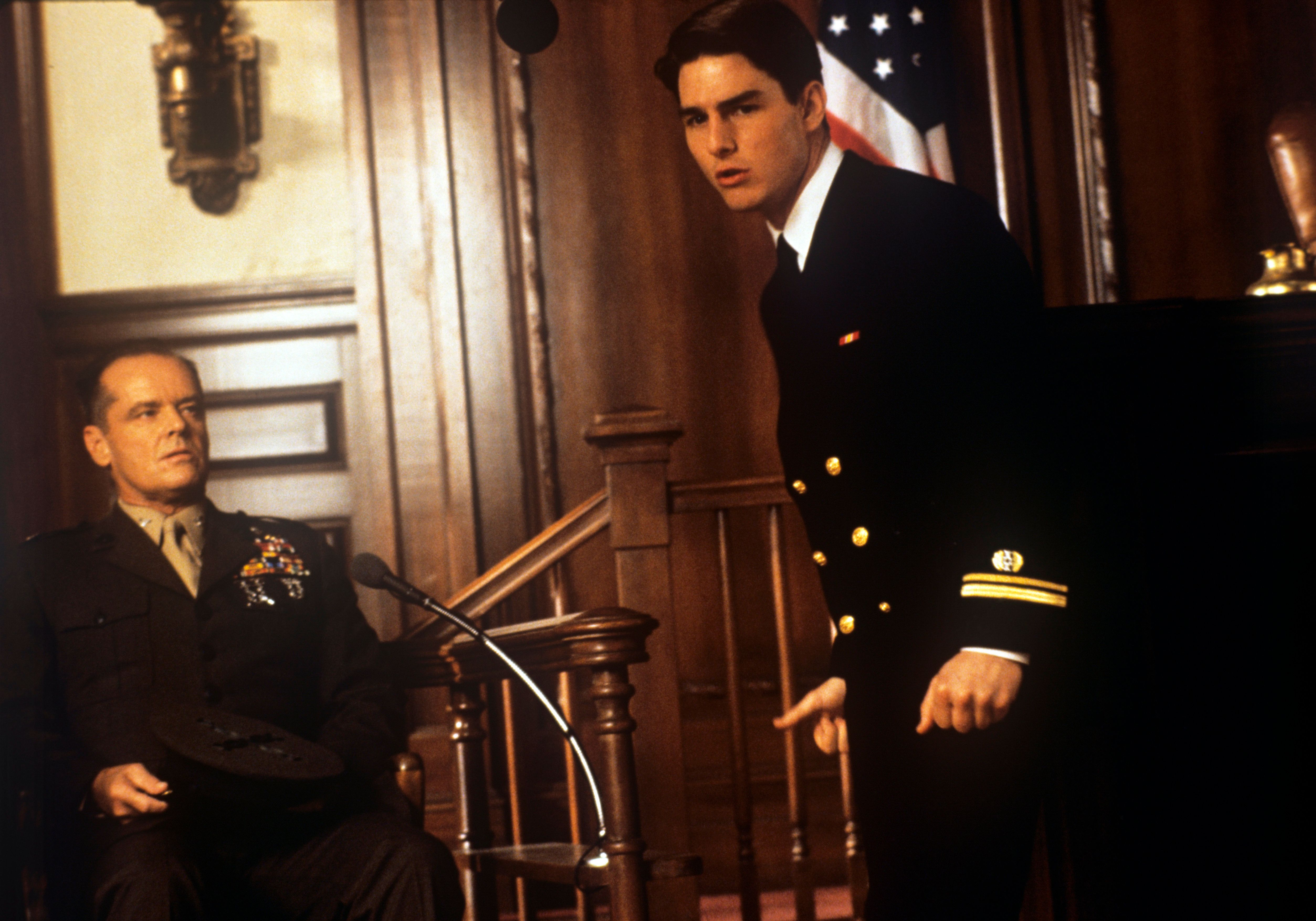 American actor Jack Nicholson playing the role of a colonel and American actor Tom Cruise playing the role of a lawyer acting