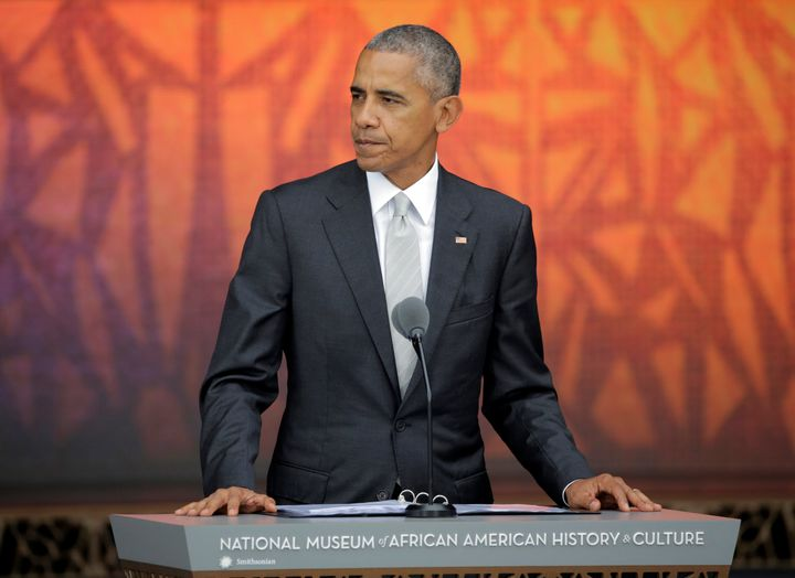 U.S. President Barack Obama speaks during the dedication of the Smithsonian's National Museum of African American Histo