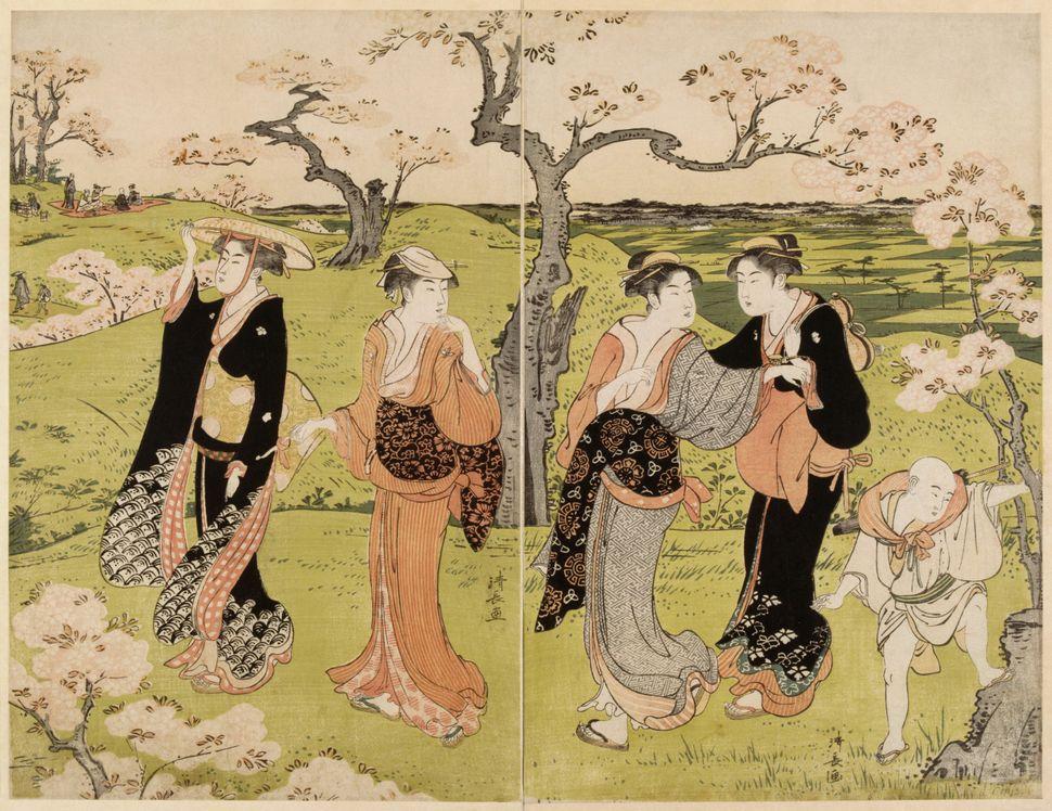 """Torii Kiyonaga, """"Picnicunder the cherry blossoms in Asukayama,"""" 1787"""