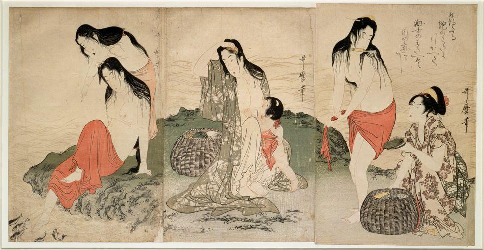 """Kitagawa Utamaro, """"The abalone fisherwomen,"""" 1797-1798"""