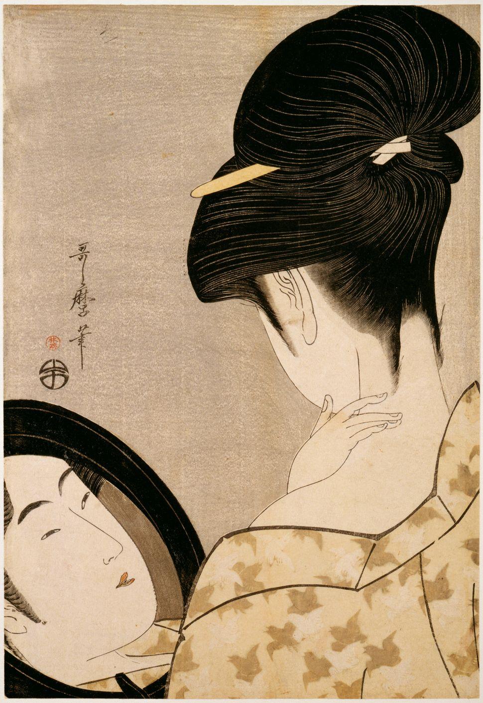 """Kitagawa Utamaro, """"Woman powdering her neck,""""1795-1796"""