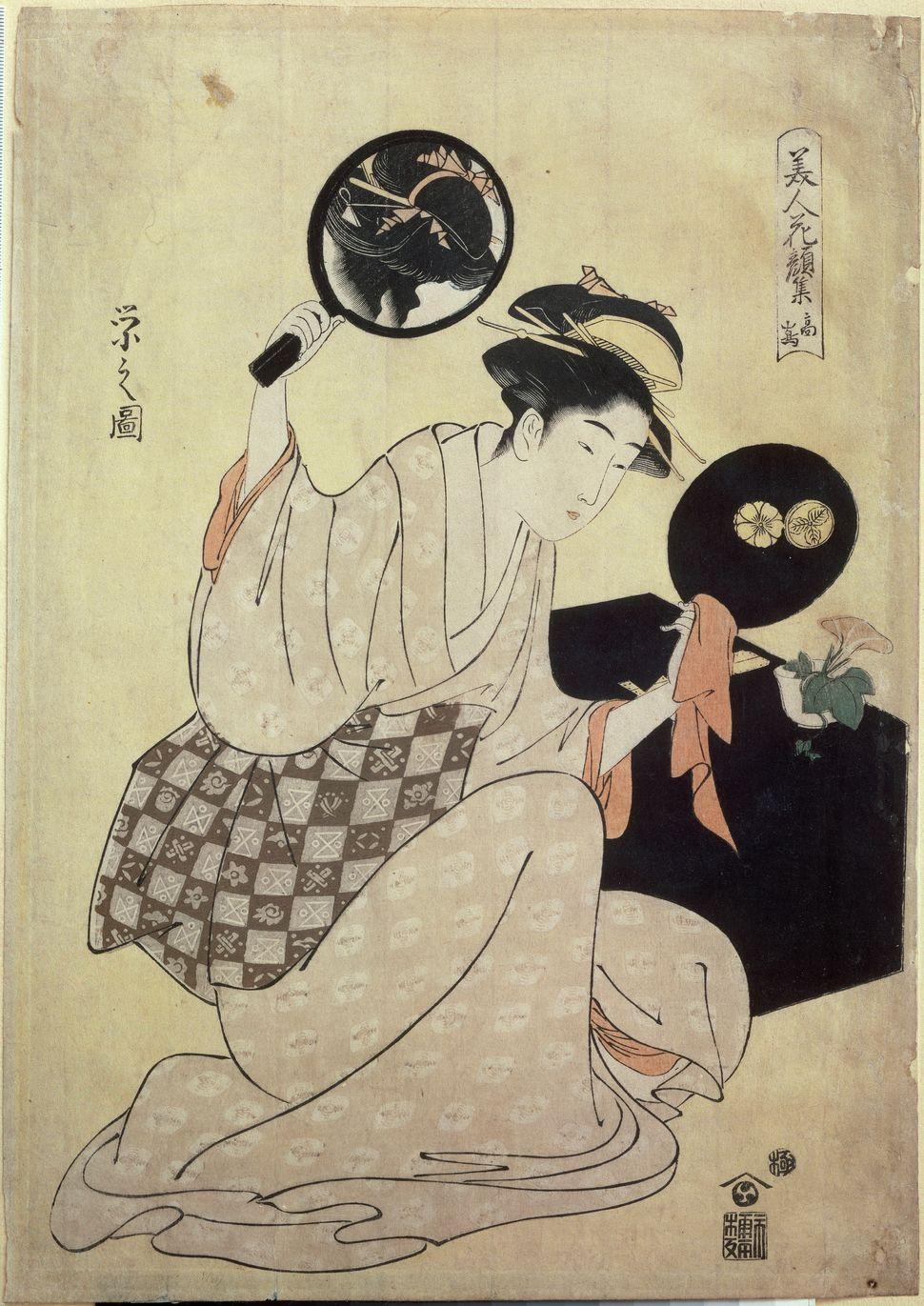 """Chobunsai (ou Hosoda) Eishi, """"Young woman fixingher hair in a mirror,""""1795-1796"""