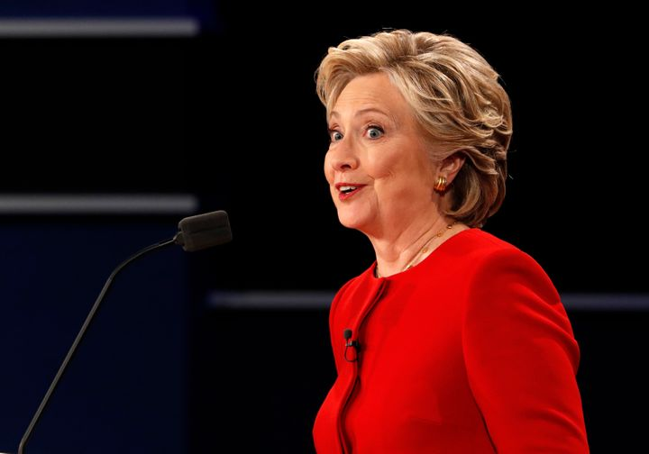 Democratic U.S. presidential nominee Hillary Clinton speaks during the first presidential debate with Republican U.S. preside