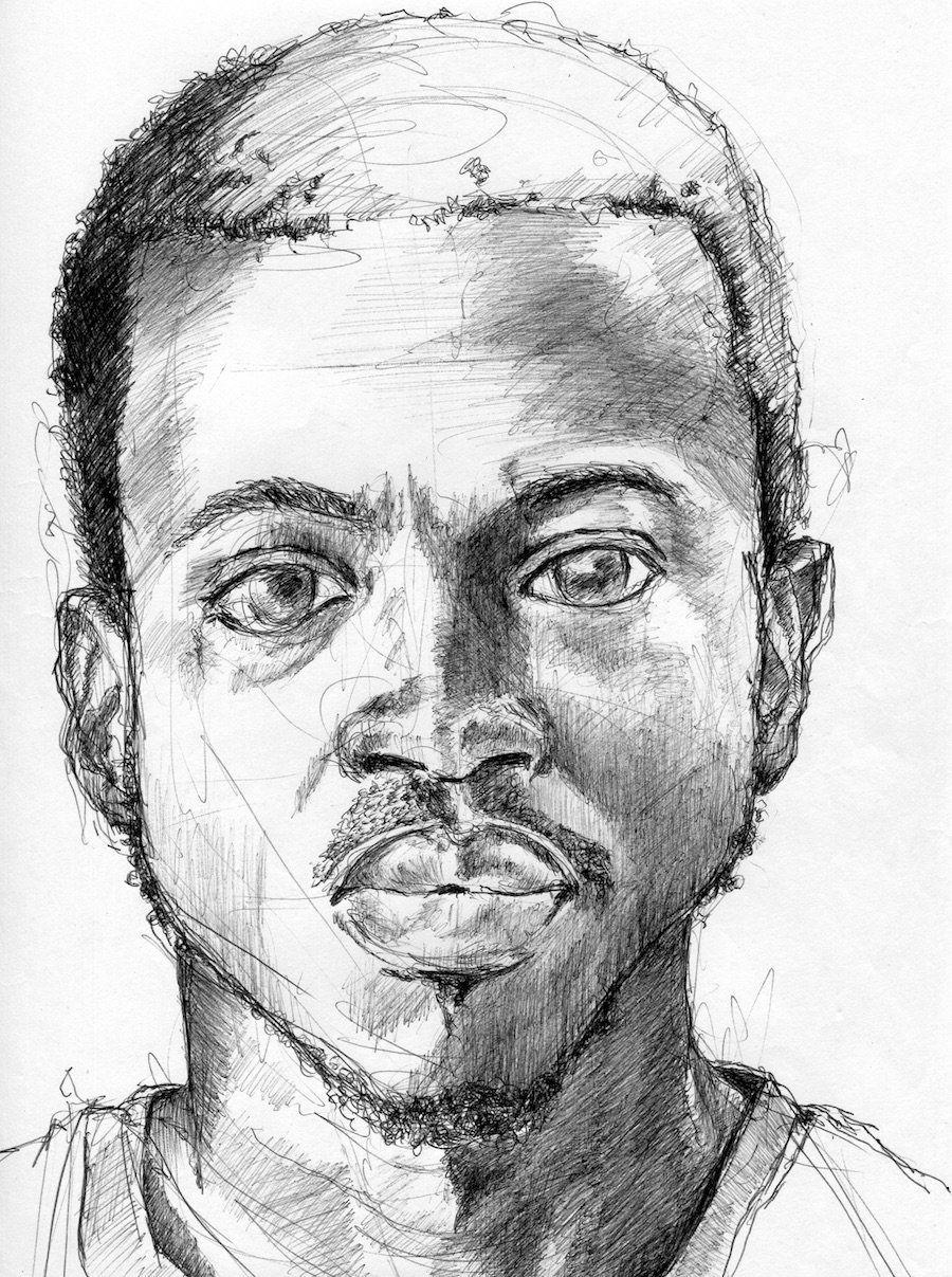 José Alvarez (D.O.P.A.) Brahima, Ivory Coast, 2012, Ballpoint pen on paper