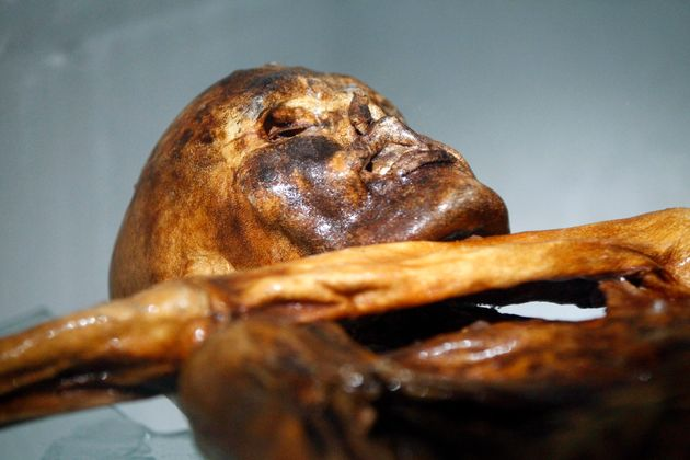 Otzi on display at a museum in Bolzano, Italy, on Feb. 28,