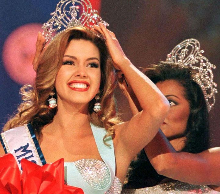 Miss Venezuela, Alicia Machado smiles after winning the 1996 ''Miss Universe'' crown May 17.