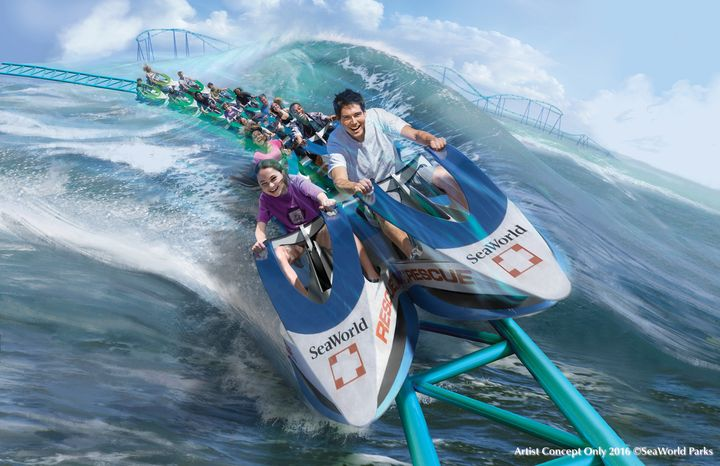 """""""Wave Breaker: The Rescue Coaster""""will debut atSeaWorld San Antonio nextyear. The coaster's2,600-foot track will whiskriders as high as61 feet overwater in a """"jet ski-style"""" car."""