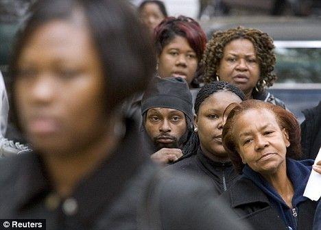 Black women waiting in line to vote in Washington, DC.