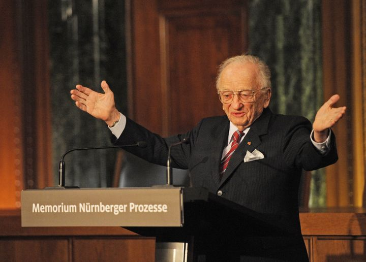 Former chief prosecutor Benjamin Ferencz addresses guests during the inauguration of the new information and documentation ce