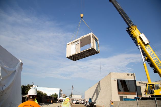 The first shipping containers arrive for the construction of Potter's