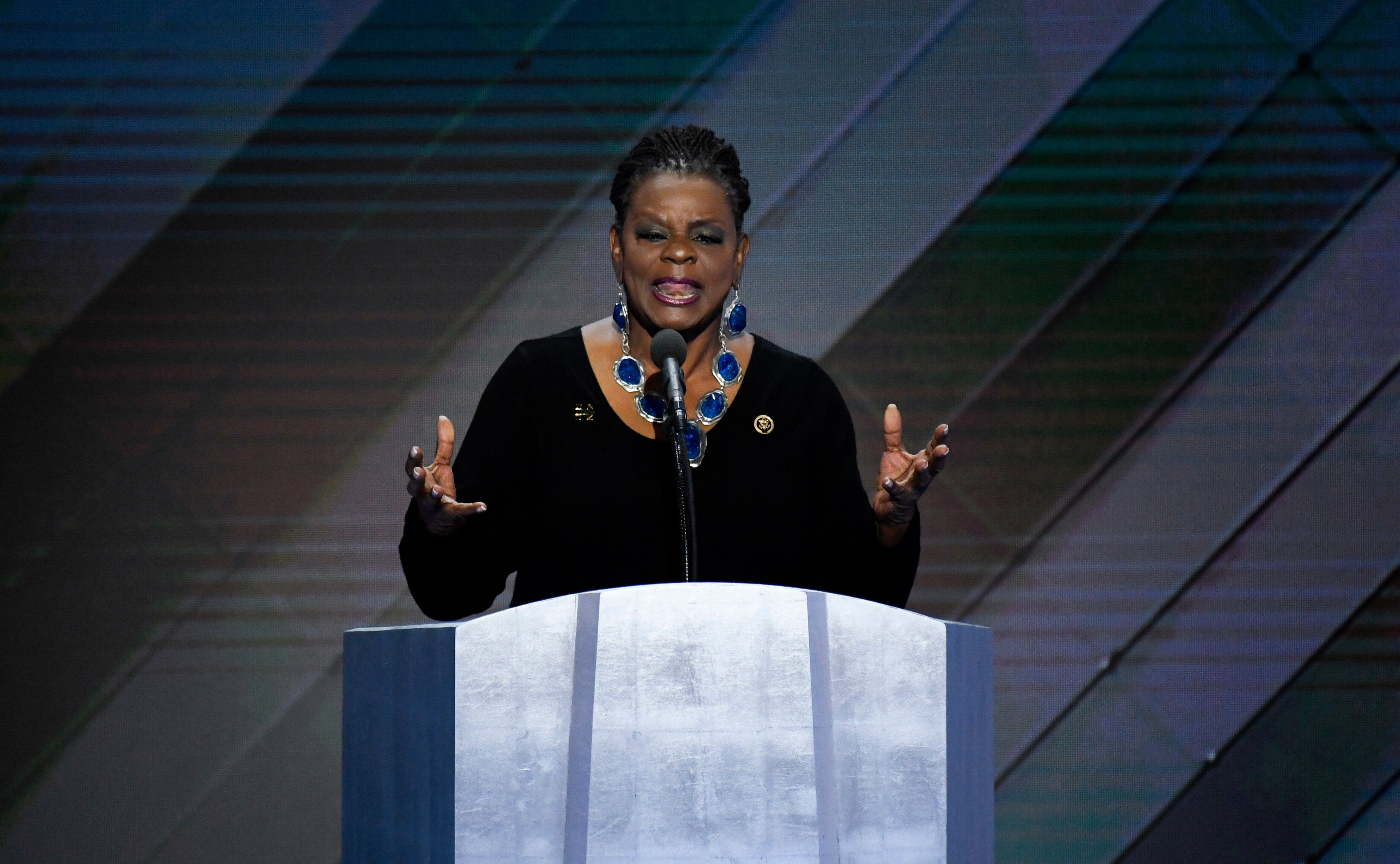 UNITED STATES - JULY 28: Rep. Gwen Moore, D-Wisc., speaks at the Democratic National Convention in Philadelphia on Thursday, July 28, 2016. (Photo By Bill Clark/CQ Roll Call)