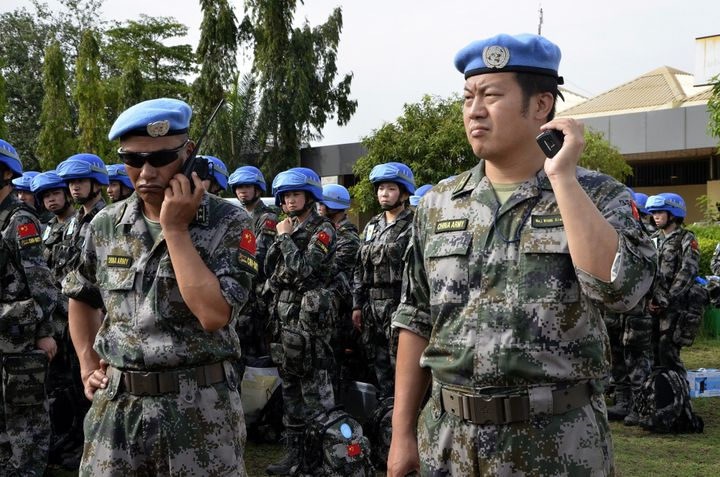 One-hundred and thirty Chinese peacekeeping troops, the last detachment of the country's first deployment of a full infantry