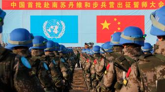 SHANDONG, CHINA - DECEMBER 22: (CHINA MAINLAND OUT)Chinese first peacekeeping infantry battalion will go to South Sudan for peacekeeping mission on 22th December, 2014 in Laiyang, Shandong, China.(Photo by TPG/Getty Images)