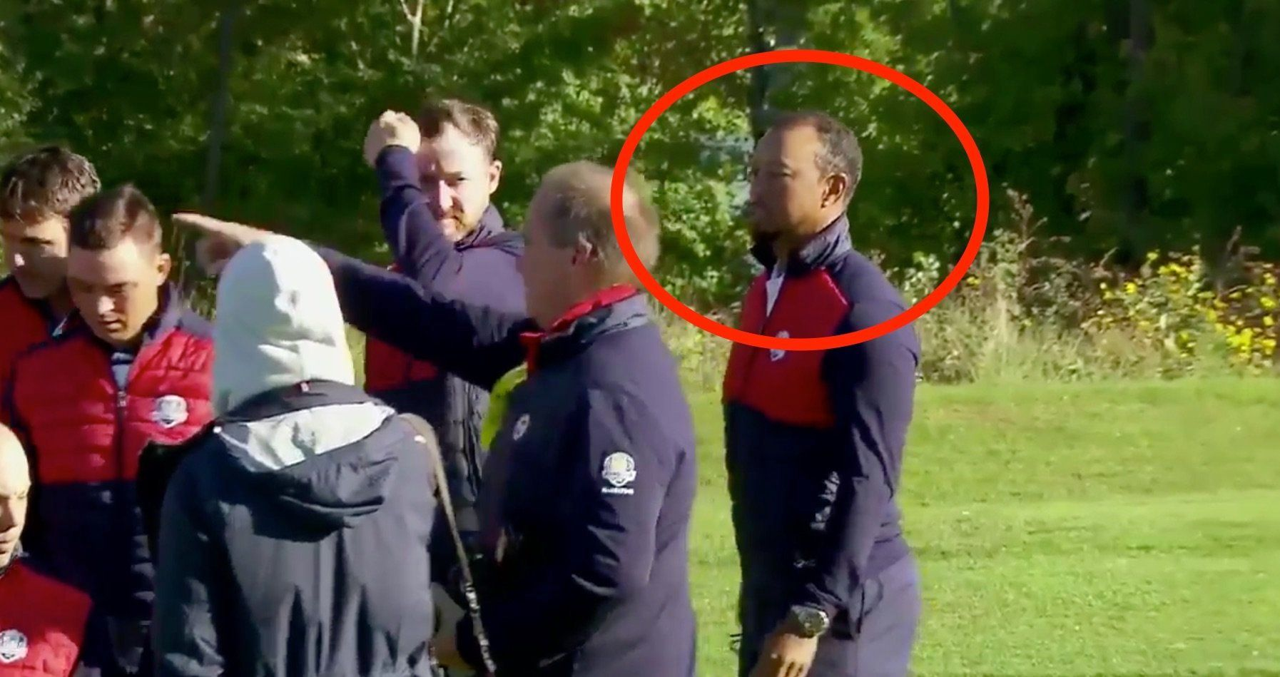 Tiger Woods chased away from Ryder Cup group portrait
