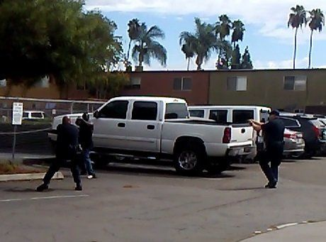 A screengrab of a deadly confrontation between a black man and El Cajon police officers