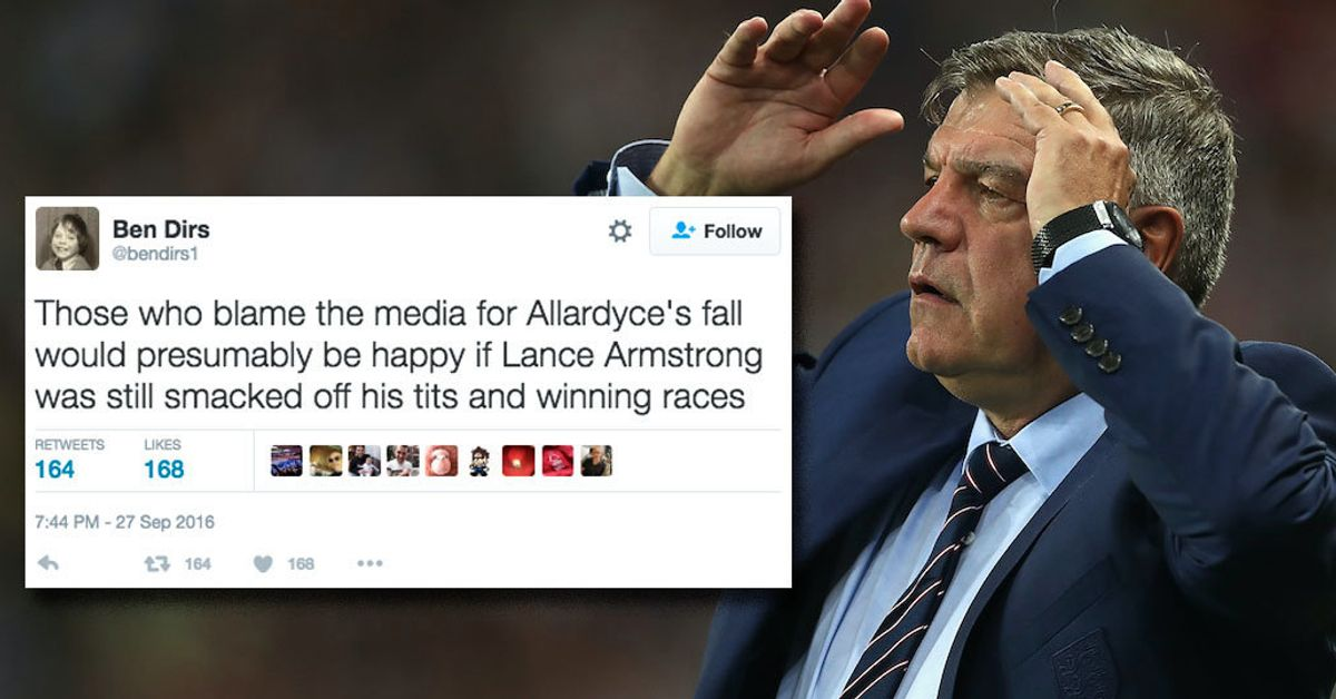 Sam Allardyce Gets Slaughtered After Blaming Media 'Entrapment' For Downfall
